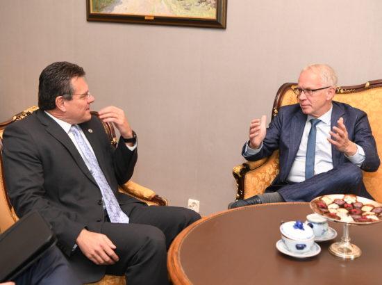 Riigikogu esimees Eiki Nestor kohtus Euroopa Komisjoni energialiidu asepresidendi Maroš Šefčovičiga