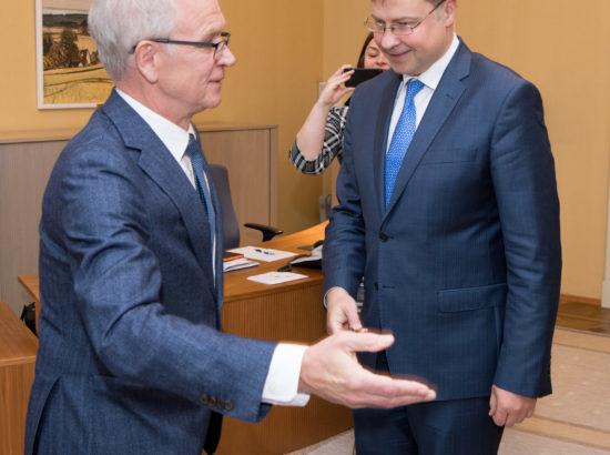 Riigikogu esimees Eiki Nestor kohtus Euroopa Komisjoni asepresidendi Valdis Dombrovskisega