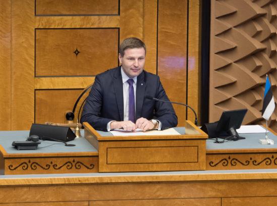 Riigikogu aseesimees Hanno Pevkur istungit juhatamas