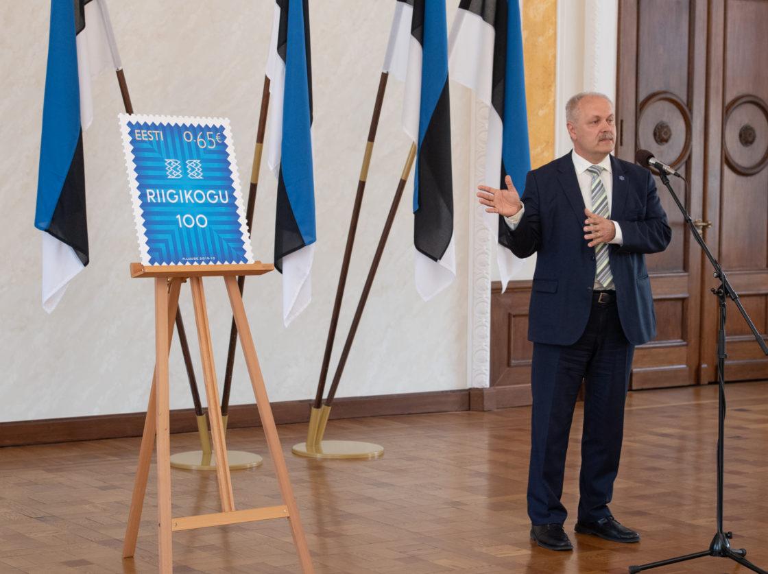 Riigikogu 100. sünnipäevale pühendatud postmargi esitlus