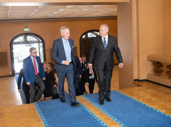 Riigikogu esimees Henn Põlluaas kohtus Soome välisministri Pekka Haavistoga