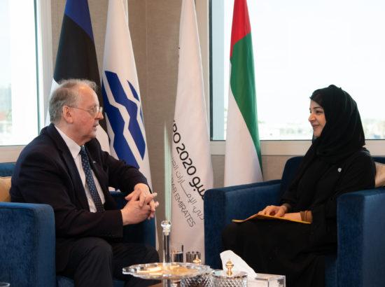 Väliskomisjoni esimees Enn Eesmaa ning Dubai rahvusvahelise koostöö minister ja Dubai World Expo 2020 tegevdirektor Reem Al Hashimy