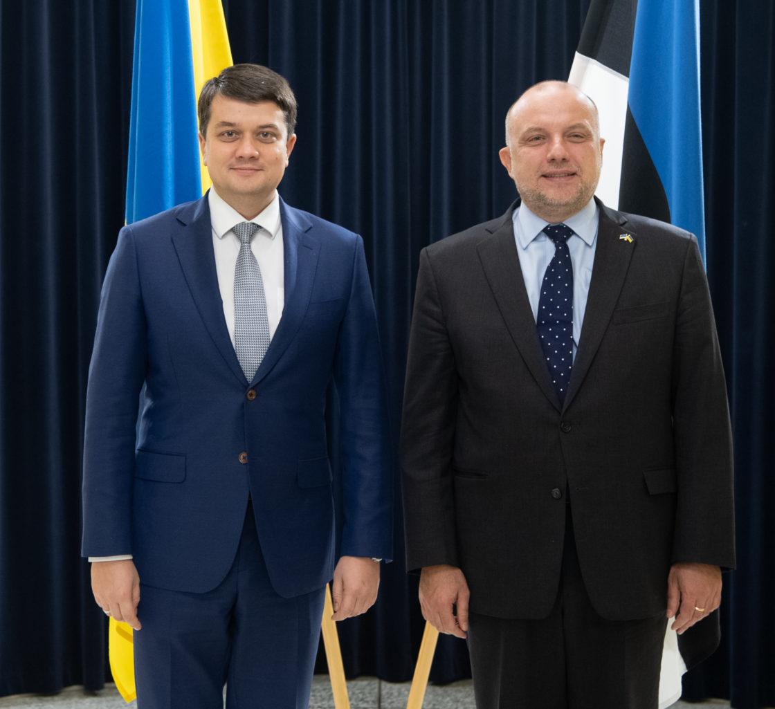 Ukraina Ülemraada esimees Dmõtro Razumkov ja kaitseminister Jüri Luik