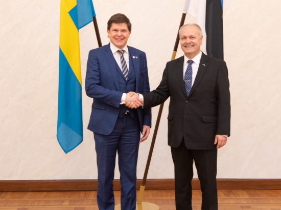 Riigikogu esimees Henn Põlluaas ja Rootsi parlamendi Riksdagi esimees Andreas Norlén