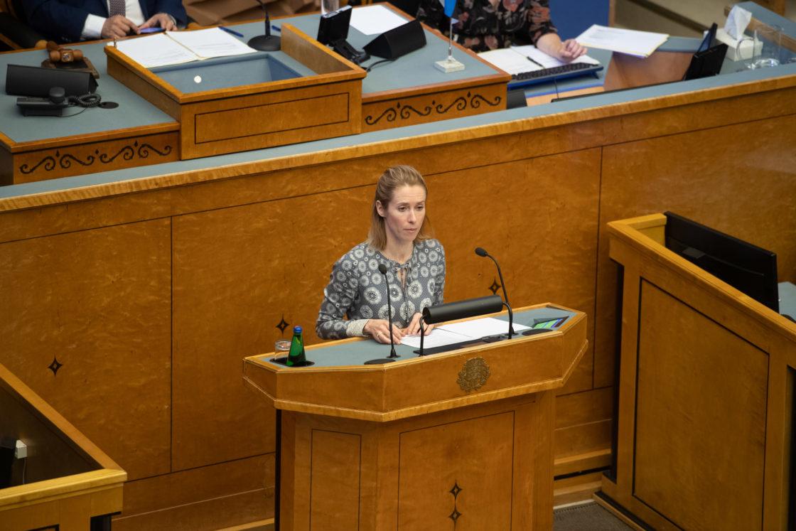 Täiskogu täiendav istung, 2020. aasta lisaeelarve seaduse eelnõu üleandmine. Läbirääkimistel võttis Reformierakonna fraktsiooni nimel sõna Kaja Kallas.