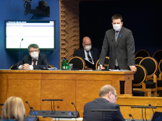 Riigikogu infotund. Välisminister Urmas Reinsalu, maaeluminister Arvo Aller ning peaminister Jüri Ratas.
