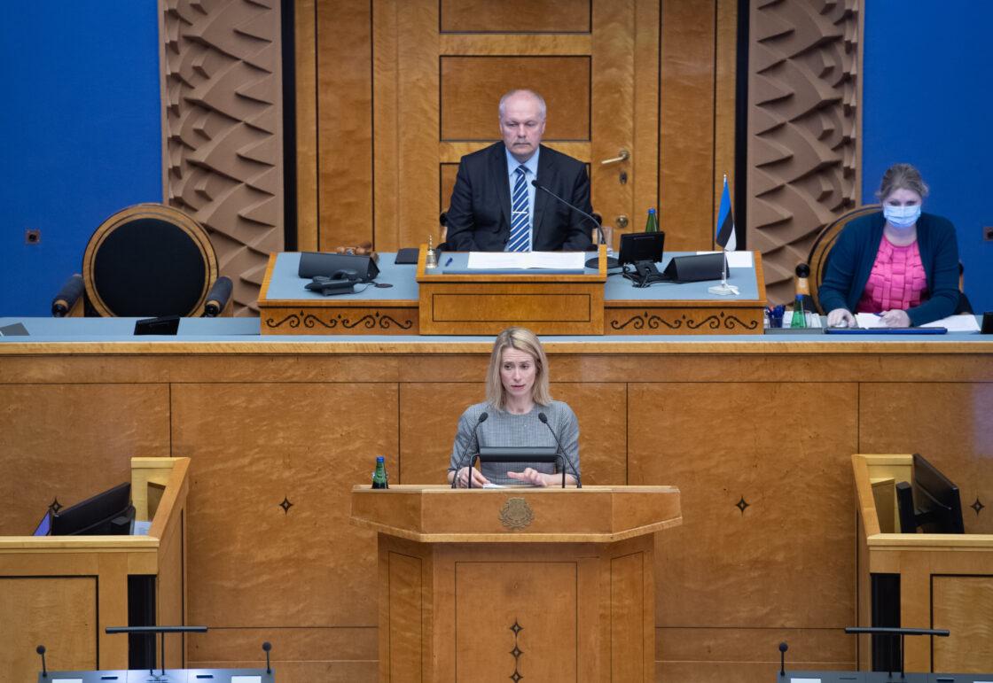 """Olulise tähtsusega riikliku küsimuse """"Elu pärast kriisi – terve ühiskonnana edasi"""" arutelu. Reformierakonna fraktsiooni juhi Kaja Kallase sõnavõtt."""