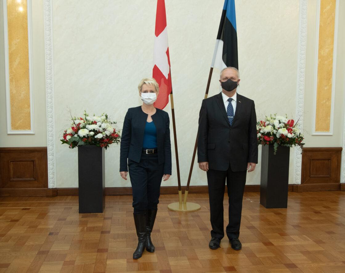 Riigikogu esimees Henn Põlluaas ja Šveitsi rahvusnõukogu esimees Isabelle Moret