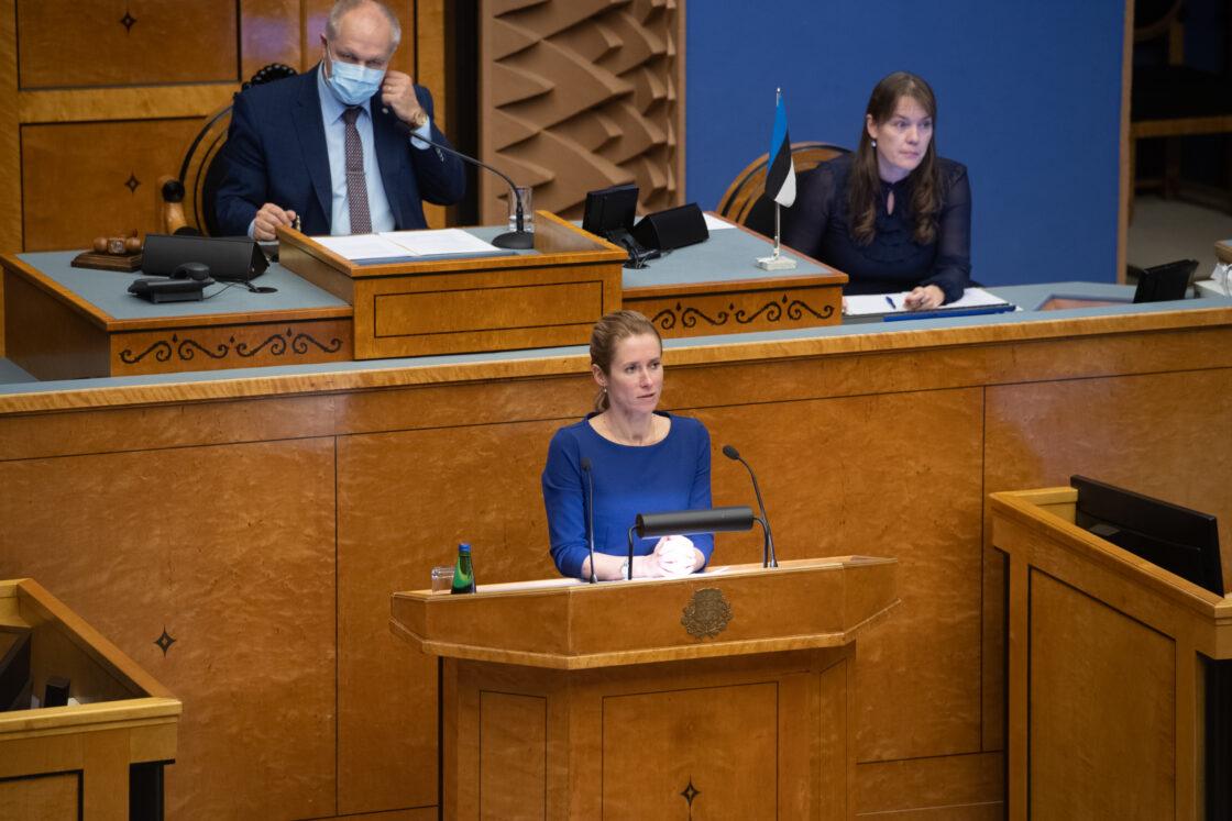 Täiskogu istung, rahandusminister Martin Helme umbusaldamine. Eesti Reformierakonna fraktsiooni esimees Kaja Kallas.