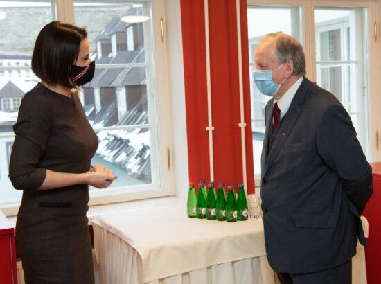 Riigikogu väliskomisjoni esimees Enn Eesmaa ja Valgevene opositsiooni liider Svjatlana Tsihhanovskaja