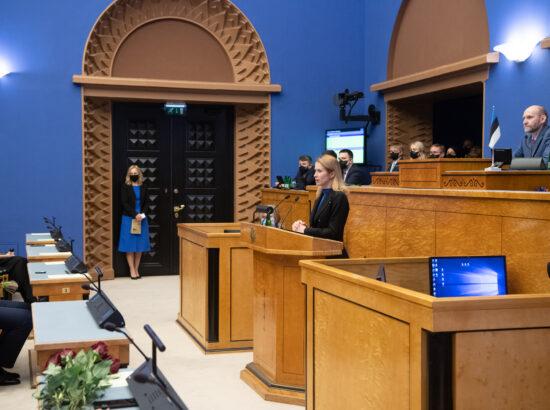 Täiskogu istung, uue valitsuse liikmed andsid ametivande, 26. jaanuar 2021. Peaminister Kaja Kallas.