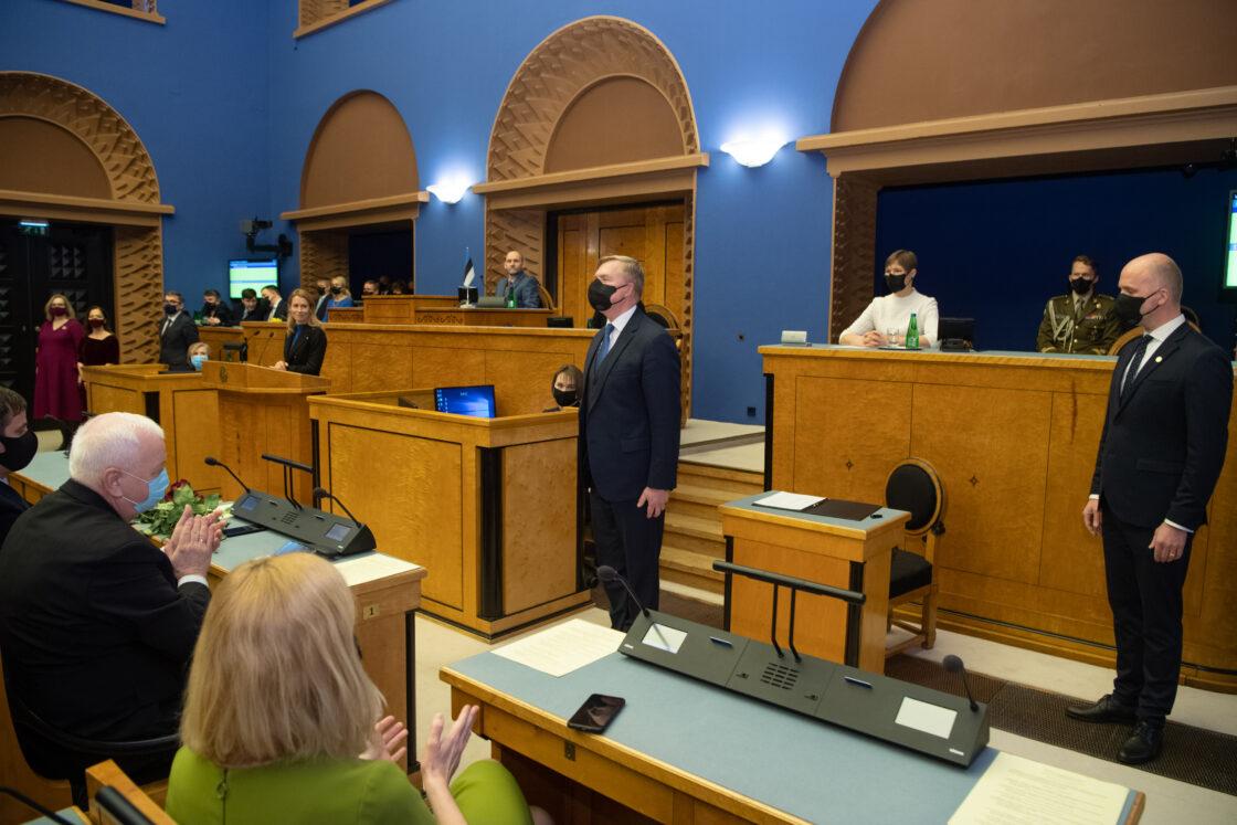 Täiskogu istung, uue valitsuse liikmed andsid ametivande, 26. jaanuar 2021. Kaitseminister Kalle Laanet.
