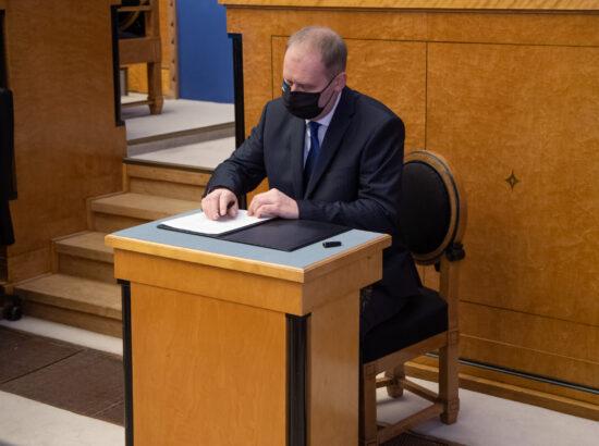 Täiskogu istung, uue valitsuse liikmed andsid ametivande, 26. jaanuar 2021. Kultuuriminister Anneli Ott.