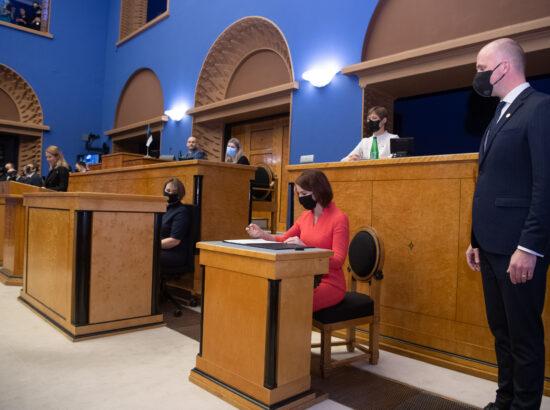 Täiskogu istung, uue valitsuse liikmed andsid ametivande, 26. jaanuar 2021. Rahandusminister Keit Pentus-Rosimannus.