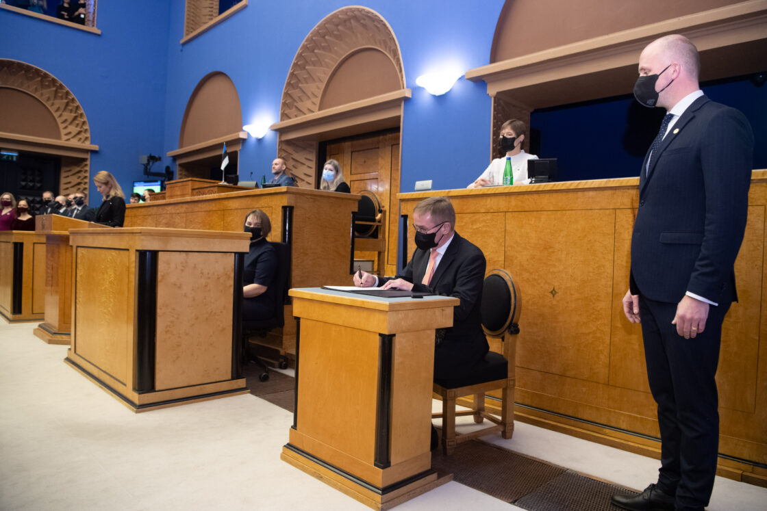 Täiskogu istung, uue valitsuse liikmed andsid ametivande, 26. jaanuar 2021. Riigihalduse minister Jaak Aab.
