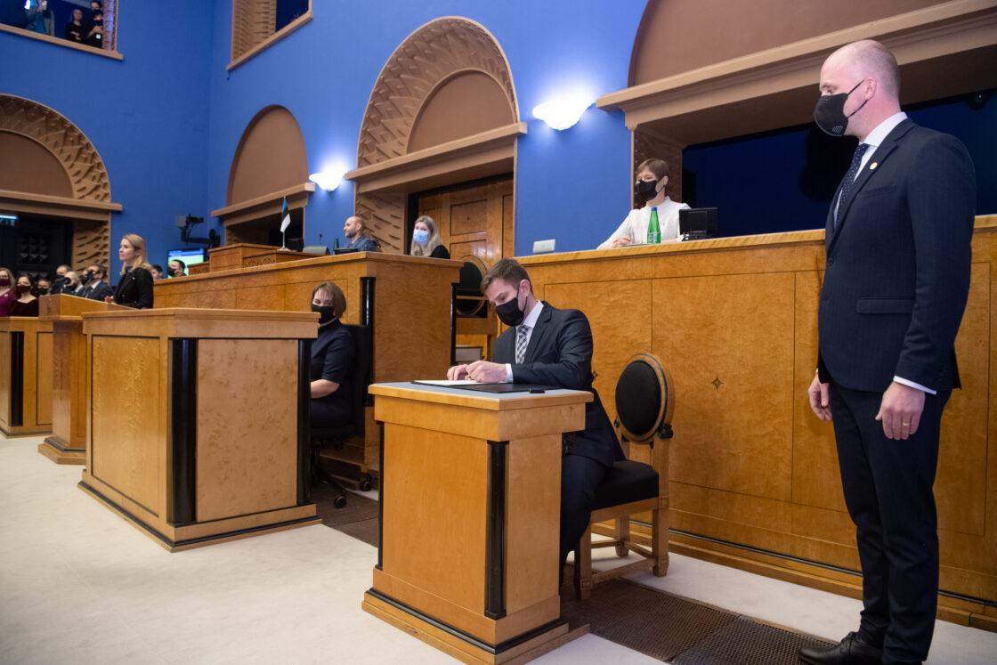 Täiskogu istung, uue valitsuse liikmed andsid ametivande, 26. jaanuar 2021. Siseminister Kristian Jaani.