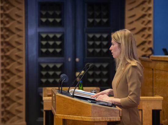 Täiskogu istung, peaminister Kaja Kallase poliitiline avaldus koroonaviiruse olukorrast