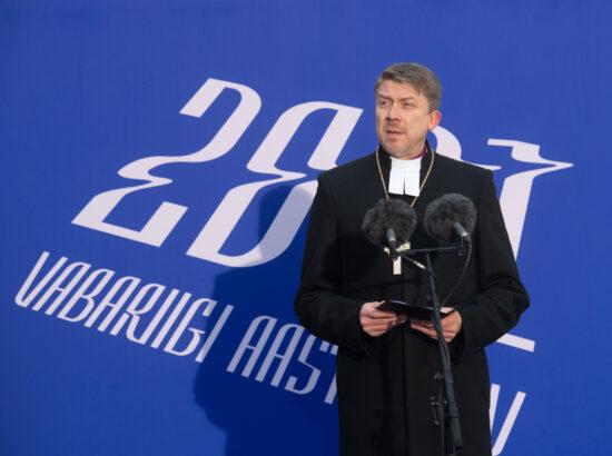 Eesti Vabariigi 103. aastapäeva lipuheiskamise tseremoonia. Peaminister Kaja Kallas ja Riigikogu aseesimees Hanno Pevkur.