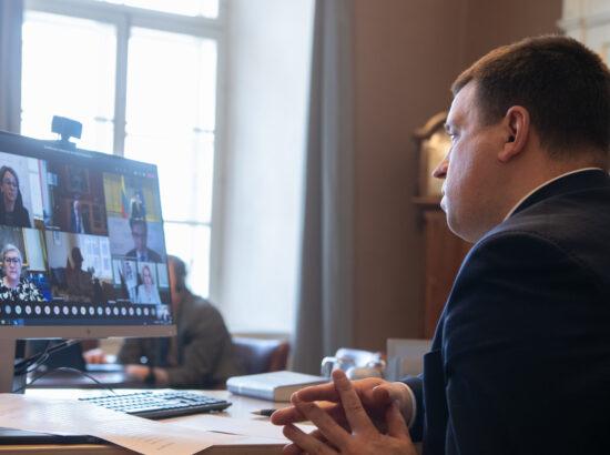 Riigikogu esimees Jüri Ratas NB8 spiikrite videokohtumisel