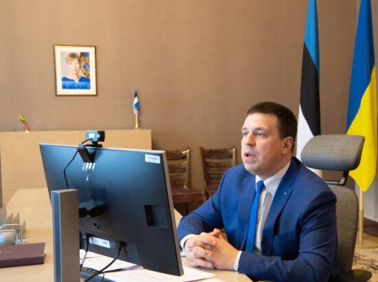Riigikogu esimees Jüri Ratas kohtus videosilla vahendusel Ukraina Ülemraada esimehe Dmõtro Razumkoviga.