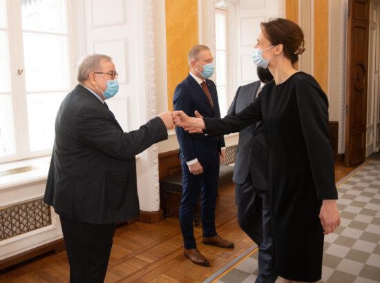 Balti Assamblee Eesti delegatsiooni esimees Aadu Must ja Leedu parlamendi esimees Viktorija Čmilytė-Nielsen