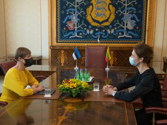 President Kersti Kaljulaid ja Leedu parlamendi esimees Viktorija Čmilytė-Nielsen