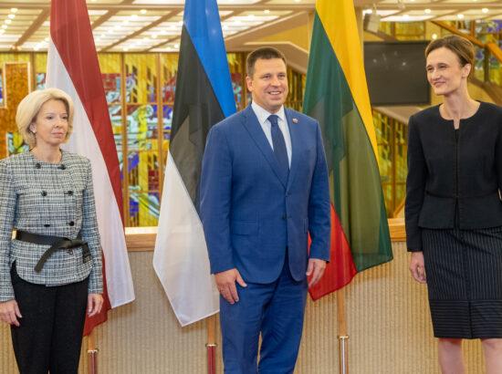 Riigikogu esimees Jüri Ratas, Leedu parlamendi esimees Viktorija Čmilytė-Nielsen ning Läti parlamendi esimees Ināra Mūrniece