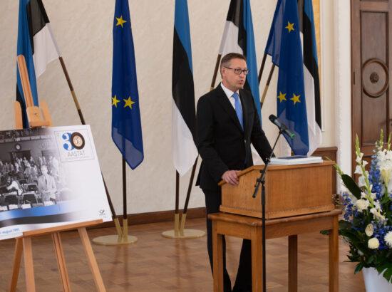 Eesti Post esitles iseseisvuse taastamise 30. aastapäevale pühendatud tervikasja. Eesti Posti juhatuse esimees Mart Mägi.