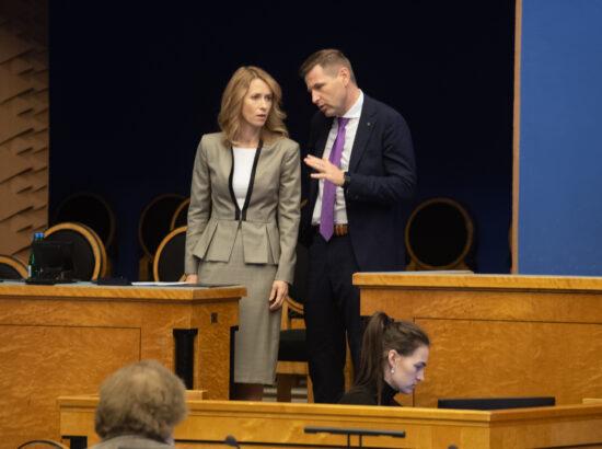 Peaminister Kaja Kallas ning Riigikogu aseesimees Hanno Pevkur