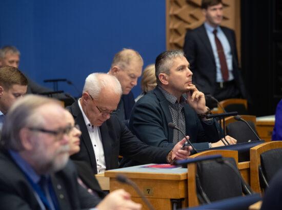 Täiskogu istung, peaminister Kaja Kallase poliitiline avaldus seoses 2022. aasta riigieelarve seaduse eelnõu üleandmisega