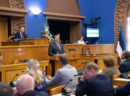 Riigikogu sügisistungjärgu avaistung, 13. september 2021. Riigikogu esimees Jüri Ratas.