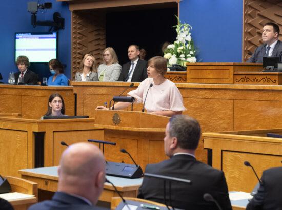 Riigikogu sügisistungjärgu avaistung, 13. september 2021. President Kersti Kaljulaid.